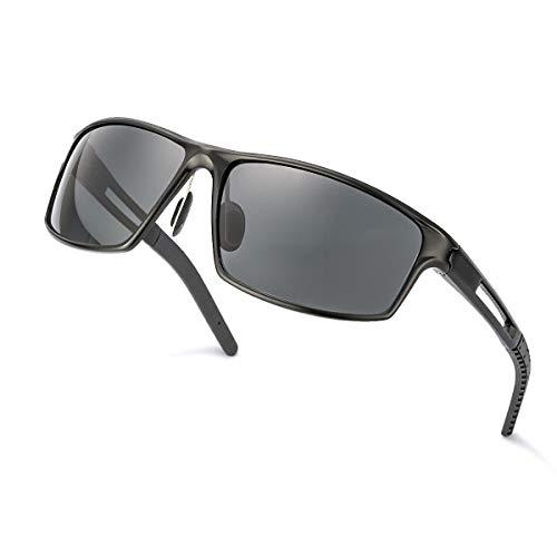 TJUTR Sonnenbrille Herren Polarisierte- Verspiegelt, Metall Rahme, 100% UV400 Schutz Fahren (Grau/Grau)