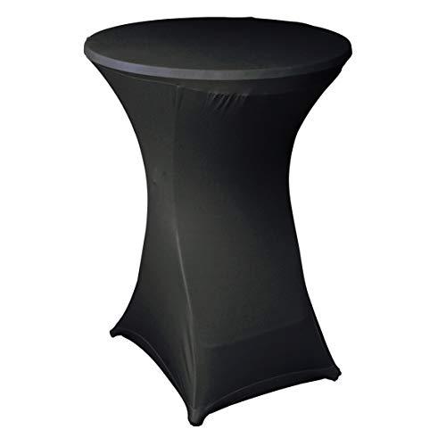 Ribelli® Stehtisch Husse Saragossa Stretch Stehtischüberzug Tischüberzug für Bistrotisch - für Stehtische Ø 80-85 cm - vers. Farben (Schwarz)