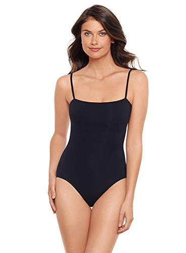 Iodus Women's Swimwear Essential Ballerine Noire One Piece Swimsuit, Noir, 8