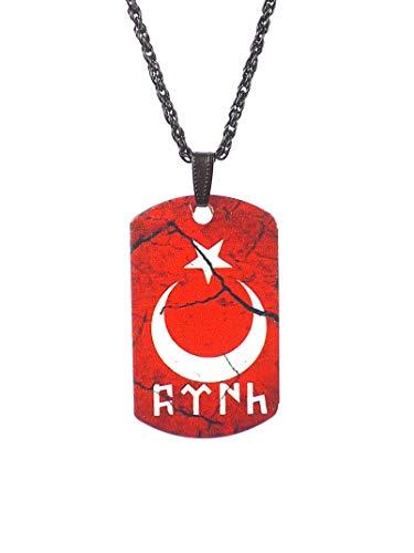 Gök-Türk Halskette Künye für Herren Unisex mit Anhänger Ay Yildiz Halbmond mit Stern, Ertugrul Alttürkische Schrift Türk Türkische Flagge Türkei Türkiye - rot