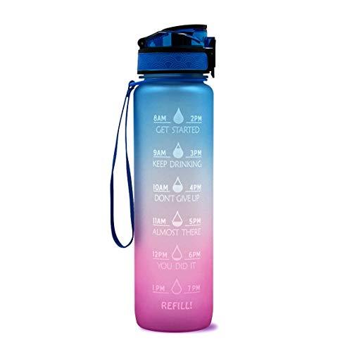 KoelrMsd Botella de Agua de plástico de 1L Taza de Rebote con gradiente Helado Taza de Espacio Deportivo Botella Deportiva de Fitness al Aire Libre