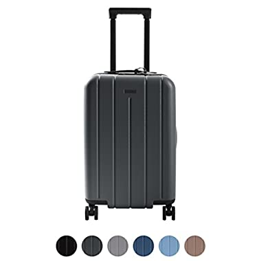 CHESTER Carry-On Luggage/22  Lightweight Polycarbonate Hardshell/Spinner Suitcase/TSA Approved Cabin Size (Charcoal Grey)