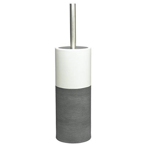 Sealskin Toilettenbürste Doppio, WC-Bürstengarnitur aus natürlichem Porzellan, Farbe: Grau, handbemalt