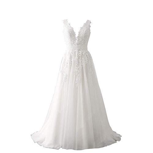 Princess Women's Wedding Dress for Bride Lace Applique Evening Dress V Neck Lace Wedding Ball Gowns Ivory 6