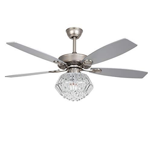 Ventilador de techo de cristal de 52 '' con iluminación y control remoto 4 aspas de ventilador lámpara E14 velocidad de viento ajustable para restaurante/sala de estar/dormitorio