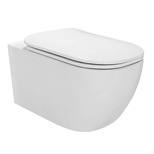 MOG Inodoro suspendido sin aro, incluido el asiento del inodoro con cierre suave + desmontable - BIFERNO