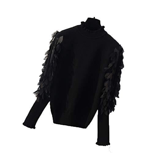 Ruffled - Collar de mujer con sudadera para otoño y loose negro Talla única