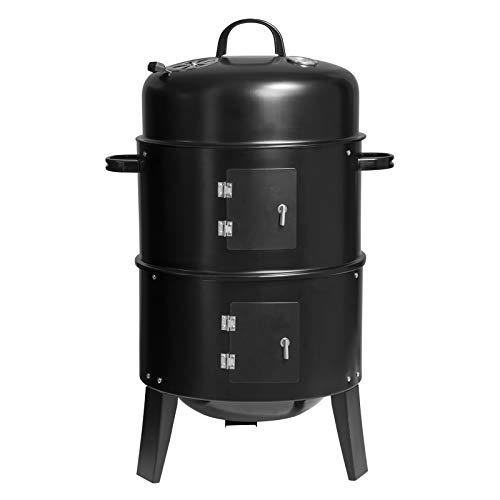 WOLTU CPZ8137sz 3 in 1 Holzkohlegrill BBQ Smoker Räuchertonne Räuchergrill 40 * 84cm, Fischgrill Räucherofen, Barbecue Grill für Garten Camping, Schwarz