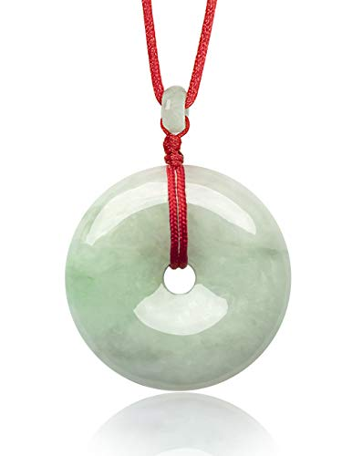 "Dahlia Circle/Donut/Coin Jade Pendant Necklace Genuine Certified Grade A Jadeite, 12-24"" D24/Q80"