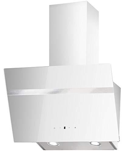 PKM Dunstabszugshaube Weiß | 60cm | Randabsaugung | Touch Control & LED Beleuchtung | EEK A | 415m³/h - 616m³/h Luftstrom | Abluft- und Umluft