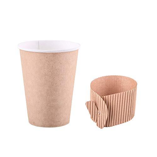 Paquete de 125 tazas de papel Kraft de 350 ml, 12 onzas con portavasos mangas para café, té, bebidas calientes, desechables, biodegradables y reciclables (125)