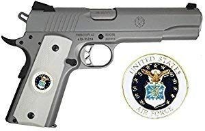 Find Bargain Garrison Grip 1911 Colt Full Size and Clones with US AIR Force Medallion Set in Light Ivory Color Polymer Double Diamond Grips