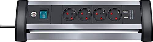 Brennenstuhl Alu-Office-Line Steckdosenleiste 4-fach mit Schalter (Steckerleiste ideal für den Schreibtisch, 1,8m Kabel, 2-fach USB 3,1 A, Made in Germany) silber/schwarz
