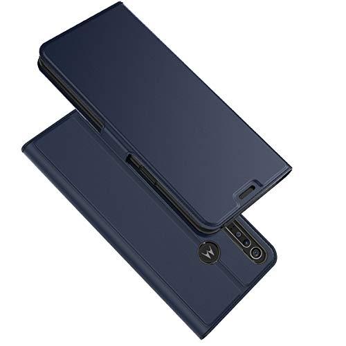 XINKO Hülle für Motorola One Macro - [Ultra Slim][Card Slot][Eingebauter Magnet] Halterungsdeckel rutschfest Flip Hülle Etui - blau