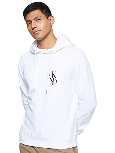 Calvin Klein Jeans Mens Back Mirrored Monogram Hoodie Hooded Sweatshirt, Bright White/Black, M