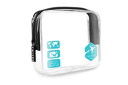 TWIVEE - Kulturbeutel Transparent - 1 Liter - Handgepäck Flüssigkeiten - Sky-Blue - Unisex