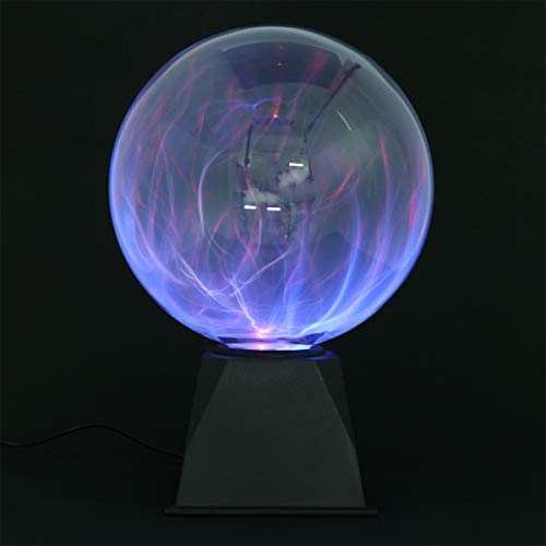 LEDMOMO Plasmaball Magische Plasmakugel Blau Licht Blitze Touch Sensitive Lampe 8 Zoll