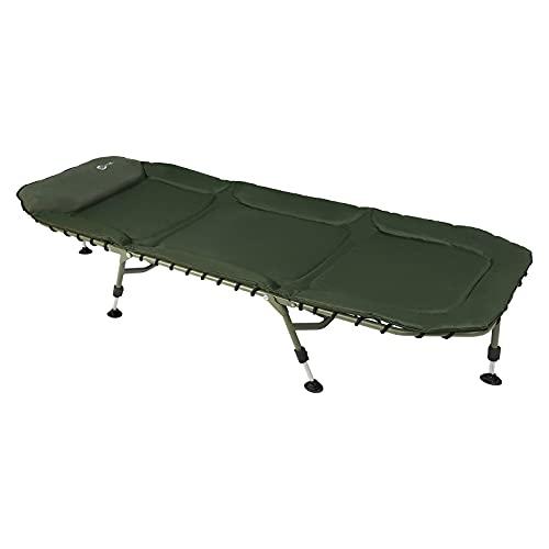 PORTAL Cama de pesca plegable XL camping al aire libre 6 patas ajustables resistente portátil verde 200x73 cm