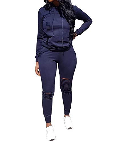 Top-Vigor Womens 2PCS Plus Size Sweatsuits Set Long Sleeve Hoodie and Bodycon Pants Jogging Suit Tracksuit for Women Ladies