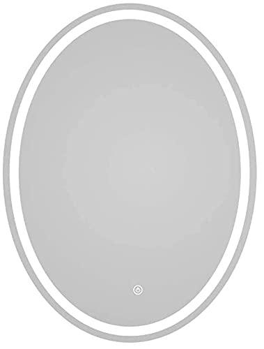 YOUZHILAN Oval Espejo Baño Espejo De Pared Espejo Colgante Dormitorio Función Antivaho con Luz LED Interruptor Táctil 2 Temperatura De Color Ajustable
