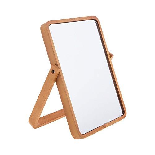 Hosoncovy Holzrahmen Ständer Make-up Spiegel Kosmetikspiegel Tischspiegel mit Holzrahmen und Standspiegel zum Aufhängen (Gelb)