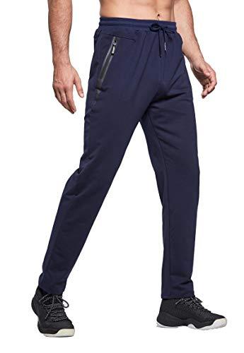 Tansozer Jogginghose Herren Baumwolle Trainingshose Männer Sporthose Herren Lang Fitness Hosen Herren Reissverschluss Taschen Ohne Bündchen Blau L