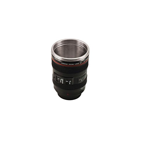 Incidence Paris 28038 MUG Objectif Photo - Noir, Acier Inoxydable, 8,3 x 8,3 x 14,6 cm