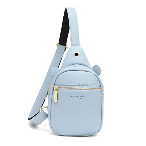 Aeeque Leder-Umhängetasche für Damen, Umhängetasche, Handytasche, Brust-Rucksack, (#2blue), Small