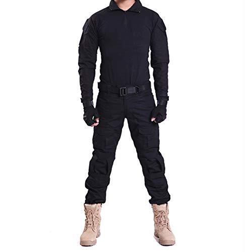 HRS Herren Tactical Camouflage Anzug Camo Uniform Outdoor Jagd Trekking Camping Militär Kampfanzug, schwarz 1, X-Large