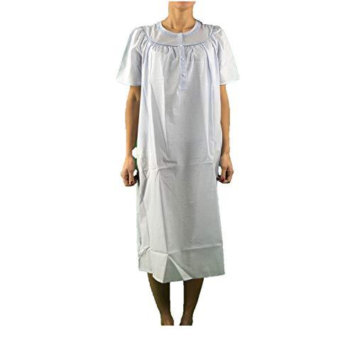 Linclalor Nachthemd Batist aus reiner Baumwolle Kurzarm Art. 29067, Blau 42
