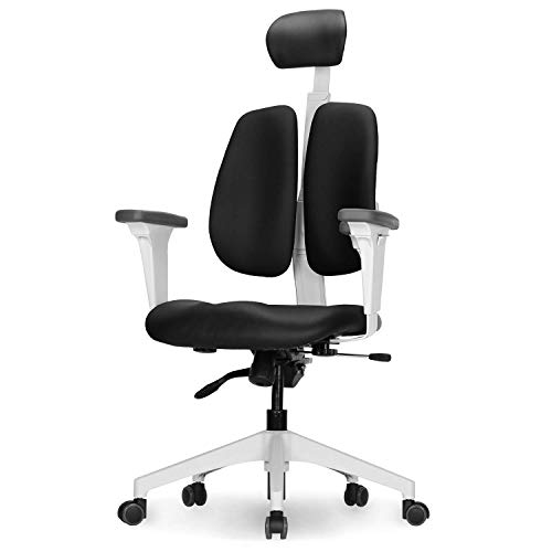 Duorest Gold Plus Executive Office Chair with Twin Backrests, Ergonomic Duorest System, Posture and Pressure Distribution, Fully Adjustable Headrest and Armrest, Tension Tilt [White/Synthetic Leather]