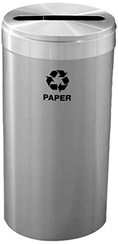 Glaro P1542SA-LB15 15″ Diameter Recycling Receptacle – Satin Aluminum Finish – 23 gal Capacity – Liner Bags Included – Bottles & Cans Opening