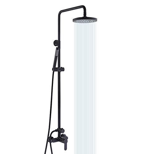 KES Rain Shower System Pressure Balancing Valve Exposed Shower Set Rainfall Shower Head Adjustable Slide Bar 2-Function Matte Black, XB6008D-BK