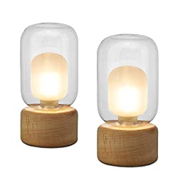 Minimalist Design: Smooth wooden texture base with a clear glass shade gives a simple and rustic appearance to this small lamp and makes it a perfect addition to your room. Mini Size for Small Places: Dimension 3.2 x 3.2 x 6.7 inches, these nightstan...