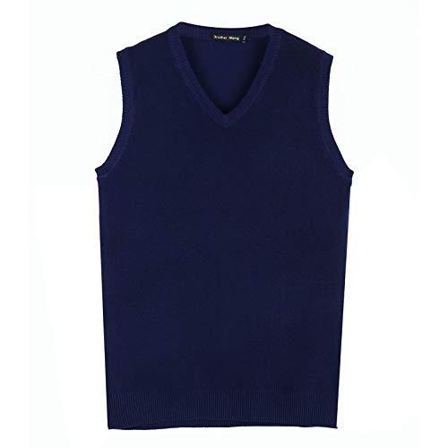 Otoño Invierno Hombre Suéter Chaleco De Punto Business Casual Clásico 100% Algodón Escote En V Color Sólido Pullover Hombres S Azul