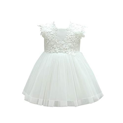 Leideur Baby Flower Baptism Birthday Gown Embroidered RainbowPrincess Dress for Girls (12 Months, White)