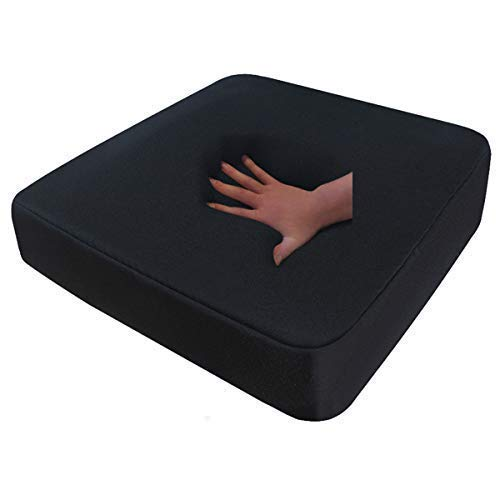 Visco Sitzkissen Visko Reise Sitzauflage schwarz 40 x 40 x 8 cm Memory Schaum viscoelastisches weiches Kissen mit Kaltschaum für Rollstuhl Bürosessel Chefsessel Auto LKW Bus Dekubitus Sitzpolster für Rücken Sitzauflage