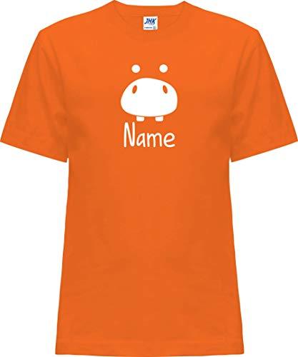 Kleckerliese T-shirt à manches courtes pour enfant avec motif animal de compagnie Hippo - Orange - 0 ans