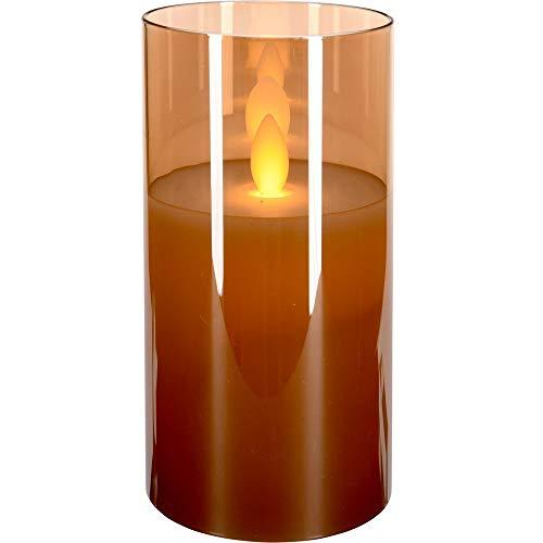 Vela LED con efecto de llama móvil, vela de Adviento, cristal, 17 cm