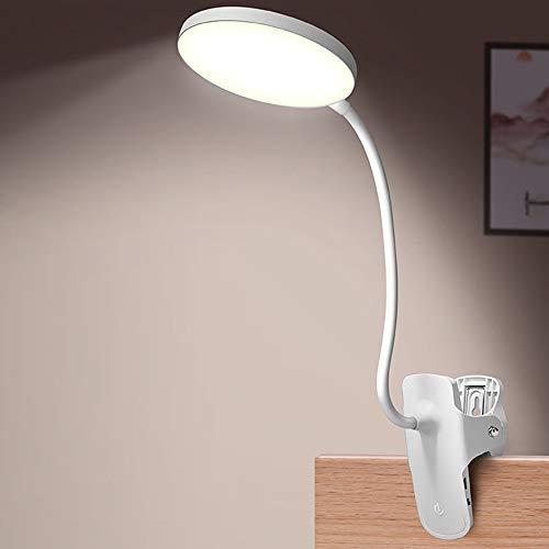 Hourongw Luz de lectura con clip para cabecera de cama, 1200 mAh recargable 14 LED luz de libro blanca cálida, lámpara de 3 brillos de escritorio, lámpara de lectura con cuello flexible, luz de noche