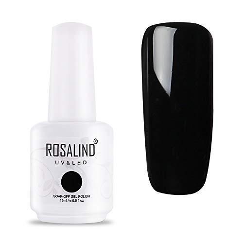ROSALIND UV LED Gel Nagellack Schwarz für Nageldesign Black Gel Nail Polish Soak off 1 Stück 15ml