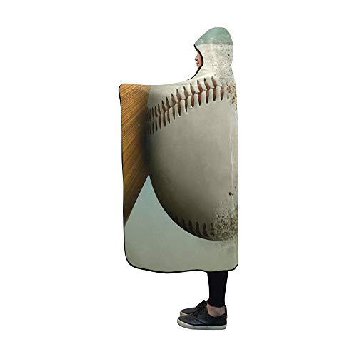 JOCHUAN Baseball-Baseballkappe mit Kapuze, die die Decke zerlegt 60x50 Zoll, Comfotable Hooded Throw Wrap