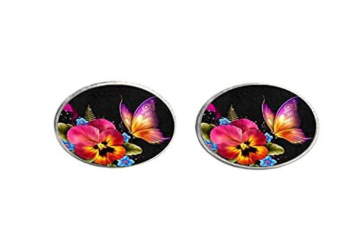 Flor mariposa arte foto cristal pendientes hombres mujeres joyería