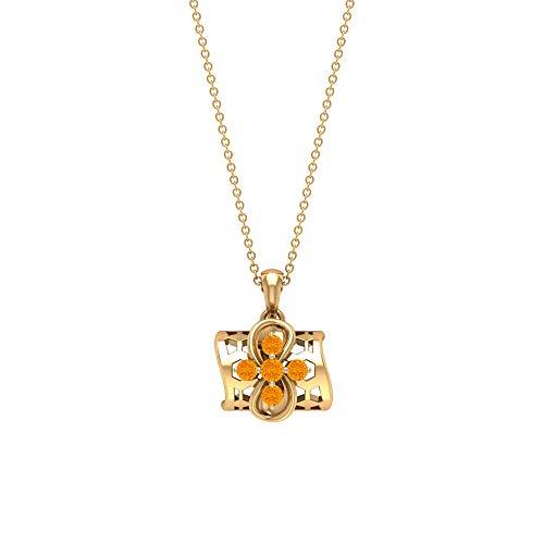 Collares de piedras preciosas de 1/2 quilates, colgantes de zafiro naranja creado en laboratorio, collar con colgante de flor para mujer, collares con colgante de gota de oro (calidad AAAA) naranja