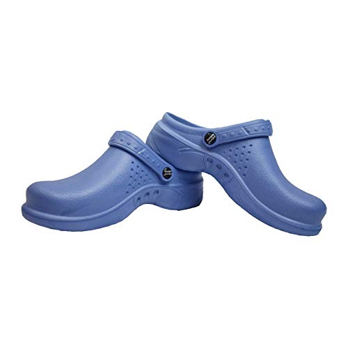 Natural Uniforms Ultralite Women's Clogs with Strap, Medical Work Mule (Size 8, Ceil Blue)