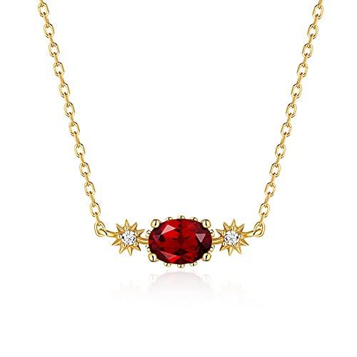 VIVIANSHOP Mujeres Colgante Collar 925 Plata Chapado en Oro GEM Pendiente Joyería de clavícula Red Garnet