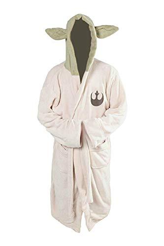 Yo-da Jedi - Accappatoio in pile con cappuccio, vestaglia per cosplay, taglia adulto Bianco latte Etichettalia unica