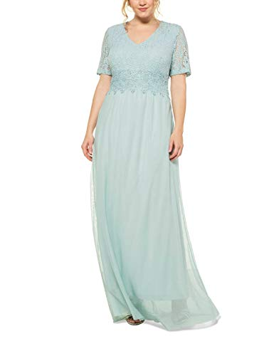 Ulla Popken Damen große Größen Spitzenkleid mit Spitzenborte Formales Abendkleid, Grün (Hellmint 72721743), 42