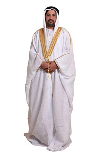 Desert Dress - Bisht Cape Thobe Vetêment Arabe Homme Saoudien Manteau Eid Mishlah Sheikh Royauté Golfe de Dubai Oman Noir Marron Blanc - Non présent,