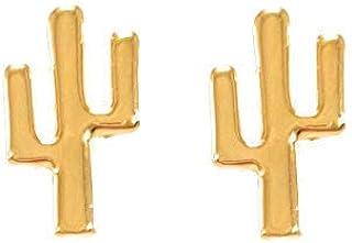Aretes de Cactus - Chapa de Oro Calidad Premium